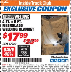 Harbor Freight ITC Coupon 4 FT. x 6 FT. FIBERGLASS WELDING BLANKET Lot No. 67833 Expired: 1/31/19 - $17.99