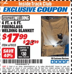 Harbor Freight ITC Coupon 4 FT. x 6 FT. FIBERGLASS WELDING BLANKET Lot No. 67833 Expired: 4/30/19 - $17.99