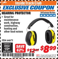 Harbor Freight ITC Coupon HEARING PROTECTOR Lot No. 64675 Valid Thru: 12/31/19 - $8.99