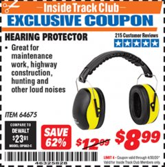 Harbor Freight ITC Coupon HEARING PROTECTOR Lot No. 64675 Expired: 4/30/20 - $8.99