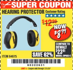 Harbor Freight Coupon HEARING PROTECTOR Lot No. 64675 Valid: 9/11/19 - 7/31/20 - $8.99