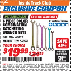 Harbor Freight ITC Coupon 6 PIECE RATCHETING COLOR COMBINATION WRENCH SETS Lot No. 66053/66054 Expired: 1/31/19 - $19.99