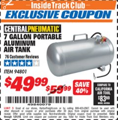 Harbor Freight ITC Coupon 7 GALLON ALUMINUM PORTABLE AIR TANK Lot No. 94801 Expired: 1/31/19 - $49.99