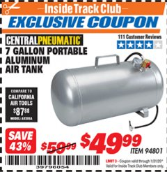Harbor Freight ITC Coupon 7 GALLON ALUMINUM PORTABLE AIR TANK Lot No. 94801 Valid: 1/1/20 - 1/31/20 - $49.99
