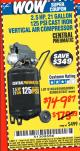 Harbor Freight Coupon 2.5 HP, 21 GALLON 125 PSI VERTICAL AIR COMPRESSOR Lot No. 67847/61454/61693/69091/62803/63635 Expired: 1/15/16 - $149.87