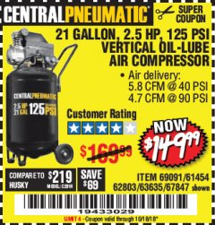 Harbor Freight Coupon 2.5 HP, 21 GALLON 125 PSI VERTICAL AIR COMPRESSOR Lot No. 67847/61454/61693/69091/62803/63635 Expired: 10/18/18 - $149.99