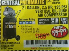 Harbor Freight Coupon 2.5 HP, 21 GALLON 125 PSI VERTICAL AIR COMPRESSOR Lot No. 67847/61454/61693/69091/62803/63635 Expired: 9/9/18 - $149.99