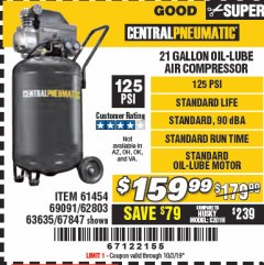 Harbor Freight Coupon 2.5 HP, 21 GALLON 125 PSI VERTICAL AIR COMPRESSOR Lot No. 67847/61454/61693/69091/62803/63635 Expired: 10/3/19 - $159.99