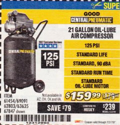 Harbor Freight Coupon 2.5 HP, 21 GALLON 125 PSI VERTICAL AIR COMPRESSOR Lot No. 67847/61454/61693/69091/62803/63635 Expired: 7/31/19 - $159.99
