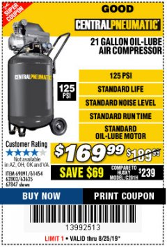 Harbor Freight Coupon 2.5 HP, 21 GALLON 125 PSI VERTICAL AIR COMPRESSOR Lot No. 67847/61454/61693/69091/62803/63635 Expired: 8/25/19 - $169.99