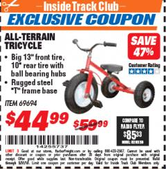 Harbor Freight ITC Coupon ALL-TERRAIN TRICYCLE Lot No. 60652/69694 Expired: 5/31/18 - $44.99