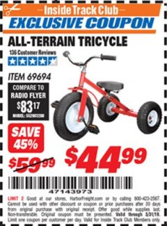 Harbor Freight ITC Coupon ALL-TERRAIN TRICYCLE Lot No. 60652/69694 Dates Valid: 5/3/19 - 5/31/19 - $44.99