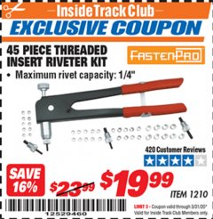 Harbor Freight ITC Coupon 45 PIECE THREADED INSERT RIVETER KIT Lot No. 1210 Expired: 3/31/20 - $19.99