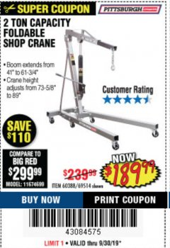 Harbor Freight Coupon 2 TON FOLDABLE SHOP CRANE Lot No. 69514/60388 Expired: 9/30/19 - $189.99