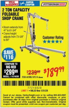 Harbor Freight Coupon 2 TON FOLDABLE SHOP CRANE Lot No. 69514/60388 Expired: 1/31/20 - $189.99