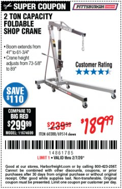 Harbor Freight Coupon 2 TON FOLDABLE SHOP CRANE Lot No. 69514/60388 Expired: 2/7/20 - $189.99