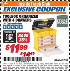 Harbor Freight ITC Coupon TOOLBOX ORGANIZER WITH 4 DRAWERS Lot No. 68238 Dates Valid: 5/3/19 - 5/31/19 - $11.99