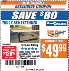 Harbor Freight ITC Coupon TRUCK BED EXTENDER Lot No. 69650/45830 Expired: 9/11/18 - $49.99