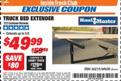 Harbor Freight ITC Coupon TRUCK BED EXTENDER Lot No. 69650/45830 Expired: 3/31/19 - $49.99