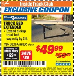 Harbor Freight ITC Coupon TRUCK BED EXTENDER Lot No. 69650/45830 Dates Valid: 5/1/19 - 5/31/19 - $49.99