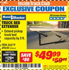 Harbor Freight ITC Coupon TRUCK BED EXTENDER Lot No. 69650/45830 Dates Valid: 12/31/69 - 6/30/20 - $49.99