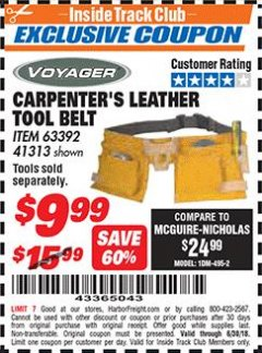 Harbor Freight ITC Coupon CARPENTER'S TOOL BELT Lot No. 41313/63392 Expired: 6/30/18 - $9.99