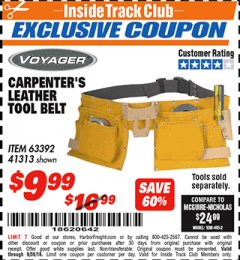 Harbor Freight ITC Coupon CARPENTER'S TOOL BELT Lot No. 41313/63392 Expired: 9/30/18 - $9.99