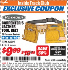 Harbor Freight ITC Coupon CARPENTER'S TOOL BELT Lot No. 41313/63392 Expired: 3/31/19 - $9.99
