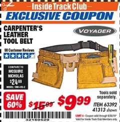 Harbor Freight ITC Coupon CARPENTER'S TOOL BELT Lot No. 41313/63392 Expired: 9/30/19 - $9.99