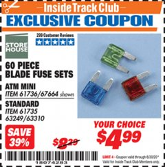 Harbor Freight ITC Coupon 60 PIECE BLADE FUSE SETS Lot No. 61736/67664/67665/61735 Dates Valid: 12/31/69 - 6/30/20 - $4.99