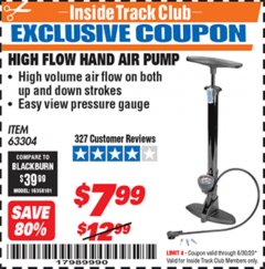 Harbor Freight ITC Coupon HIGH FLOW HAND AIR PUMP Lot No. 63304/94046 Dates Valid: 12/31/69 - 6/30/20 - $7.99