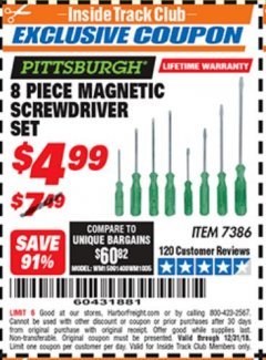 Harbor Freight ITC Coupon 8 PIECE MAGNETIC SCREWDRIVER SET Lot No. 7386 Expired: 12/31/18 - $4.99