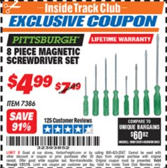 Harbor Freight ITC Coupon 8 PIECE MAGNETIC SCREWDRIVER SET Lot No. 7386 Expired: 1/31/19 - $4.99