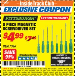 Harbor Freight ITC Coupon 8 PIECE MAGNETIC SCREWDRIVER SET Lot No. 7386 Valid Thru: 3/31/19 - $4.99