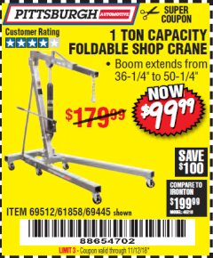 Harbor Freight Coupon 1 TON CAPACITY FOLDABLE SHOP CRANE Lot No. 69512/61858/69445 Expired: 11/12/18 - $99.99