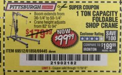 Harbor Freight Coupon 1 TON CAPACITY FOLDABLE SHOP CRANE Lot No. 69512/61858/69445 Expired: 11/19/18 - $99.99