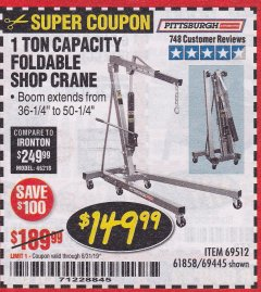 Harbor Freight Coupon 1 TON CAPACITY FOLDABLE SHOP CRANE Lot No. 69512/61858/69445 Expired: 8/31/19 - $149.99