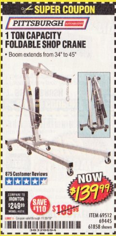 Harbor Freight Coupon 1 TON CAPACITY FOLDABLE SHOP CRANE Lot No. 69512/61858/69445 Expired: 11/30/19 - $139.99