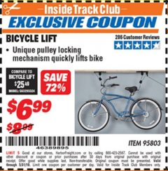 Harbor Freight ITC Coupon BICYCLE LIFT Lot No. 95803 Dates Valid: 12/31/69 - 5/31/19 - $6.99