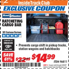 Harbor Freight ITC Coupon RATCHETING CARGO BAR Lot No. 96811 Expired: 2/29/20 - $14.99