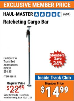 Harbor Freight ITC Coupon RATCHETING CARGO BAR Lot No. 96811 Expired: 10/31/20 - $14.99