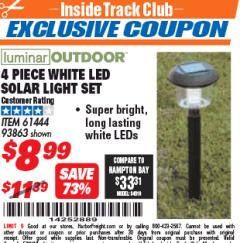Harbor Freight ITC Coupon 4 PIECE WHITE LED SOLAR LIGHT SET Lot No. 61444/93863 Expired: 5/31/18 - $8.99