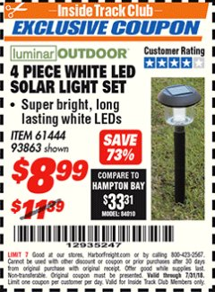 Harbor Freight ITC Coupon 4 PIECE WHITE LED SOLAR LIGHT SET Lot No. 61444/93863 Expired: 7/31/18 - $8.99