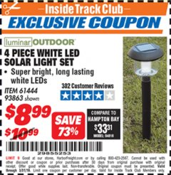 Harbor Freight ITC Coupon 4 PIECE WHITE LED SOLAR LIGHT SET Lot No. 61444/93863 Expired: 3/31/19 - $8.99