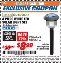 Harbor Freight ITC Coupon 4 PIECE WHITE LED SOLAR LIGHT SET Lot No. 61444/93863 Dates Valid: 5/3/19 - 5/31/19 - $8.99