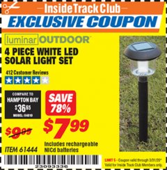 Harbor Freight ITC Coupon 4 PIECE WHITE LED SOLAR LIGHT SET Lot No. 61444/93863 Expired: 3/31/20 - $7.99