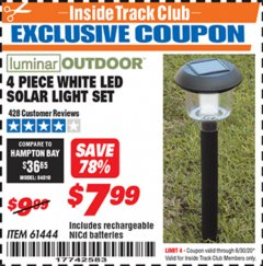 Harbor Freight ITC Coupon 4 PIECE WHITE LED SOLAR LIGHT SET Lot No. 61444/93863 Expired: 6/30/20 - $7.99