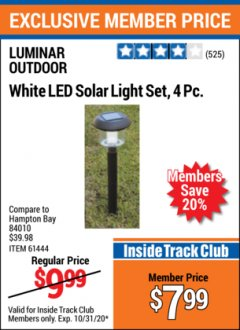 Harbor Freight ITC Coupon 4 PIECE WHITE LED SOLAR LIGHT SET Lot No. 61444/93863 Expired: 10/31/20 - $7.99