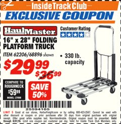 "Harbor Freight ITC Coupon 16"" x 28"" LIGHTWEIGHT FOLDING PLATFORM TRUCK Lot No. 62206/68896 Expired: 8/31/18 - $29.99"