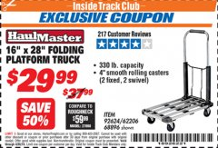 "Harbor Freight ITC Coupon 16"" x 28"" LIGHTWEIGHT FOLDING PLATFORM TRUCK Lot No. 62206/68896 Expired: 4/30/19 - $29.99"
